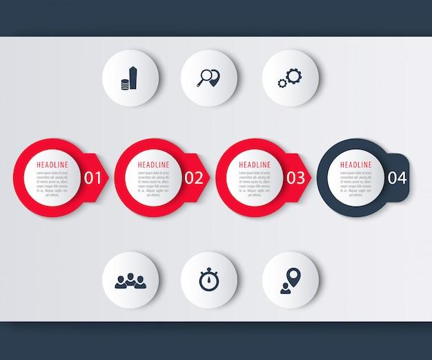 Elementos de infografía de línea de tiempo, iconos, etiquetas de paso en verde, ilustración