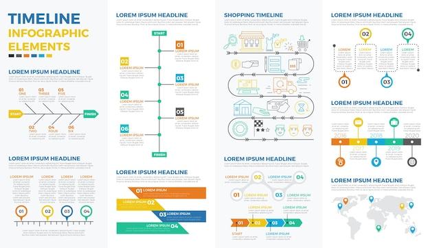 Elementos de infografía de línea de tiempo de negocios