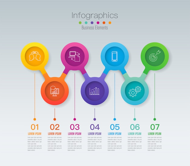 Elementos de infografía de línea de tiempo