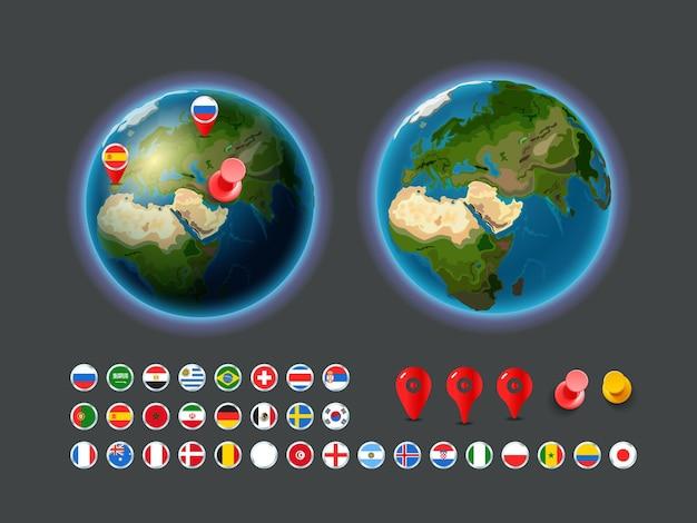 Elementos de infografía. mapa de la tierra con banderas y alfileres.