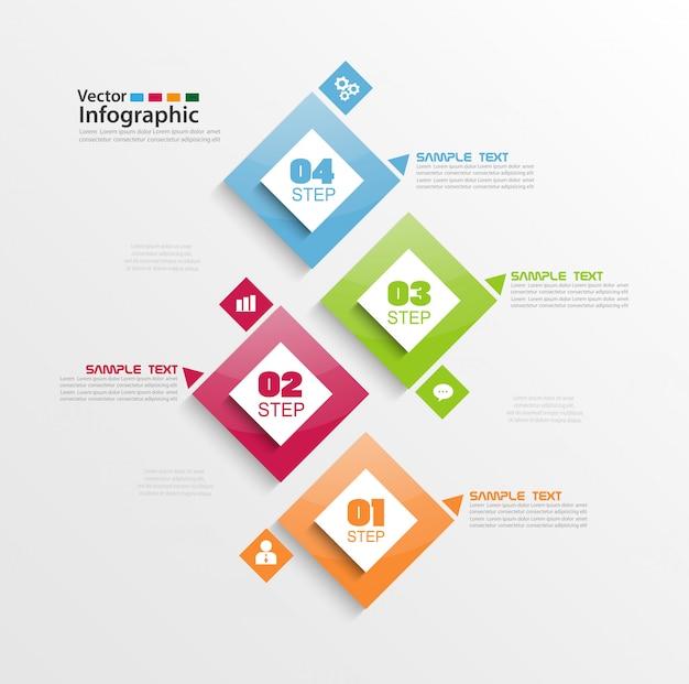 Elementos de infografía moderna con cuatro pasos y cuadrados coloridos.