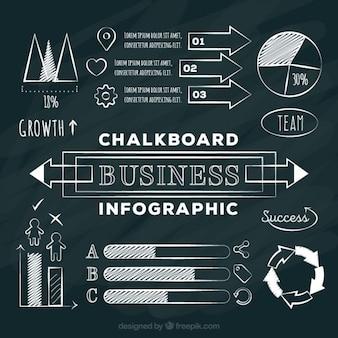 Elementos de infografía de negocio en el estilo chalckboard
