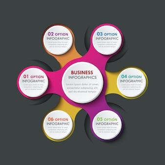 Elementos de infografía de papel 3d para seis opciones. infografía de negocios de metaball