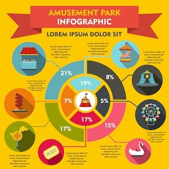 Elementos de infografía del parque de atracciones en estilo plano para cualquier diseño