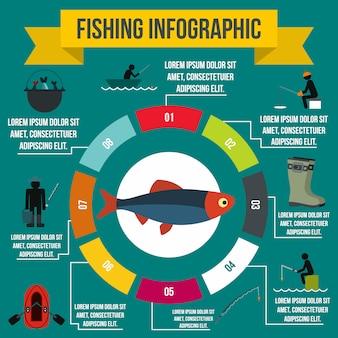 Elementos de infografía de pesca en estilo plano para cualquier diseño.