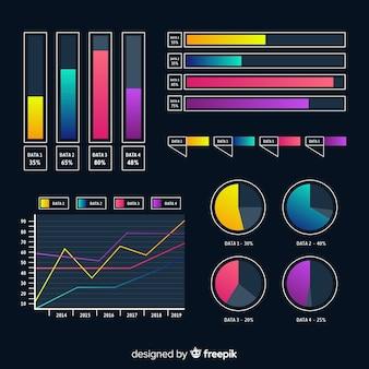 Elementos de infografía planos degradados