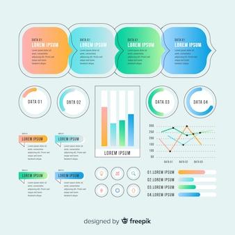 Elementos infografía planos con efecto degradado