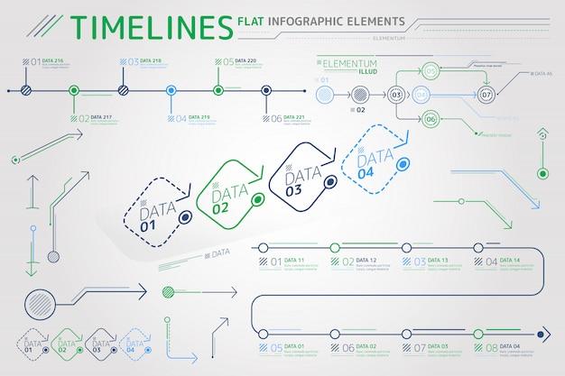 Elementos de infografía planos de líneas de tiempo