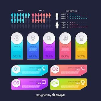 Elementos de infografía sobre fondo oscuro