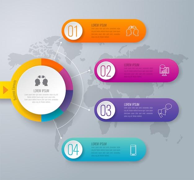 Elementos de infografía timeline para la presentación.