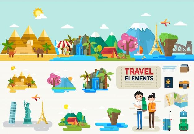 Elementos de infografía de viaje