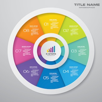Elementos de infografías del gráfico del ciclo de 8 pasos. eps 10.