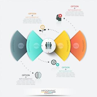 Elementos de infografías de negocios círculo moderno