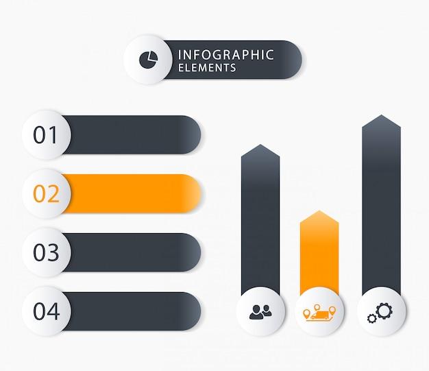 Elementos de infografías de negocios modernos, 1 2 3 4, gráficos, etiquetas de paso