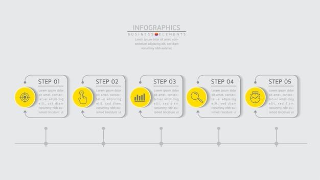 Elementos para infografías. presentación y gráfico. pasos o procesos. diseño de plantilla de flujo de trabajo de número de opciones 5 pasos.