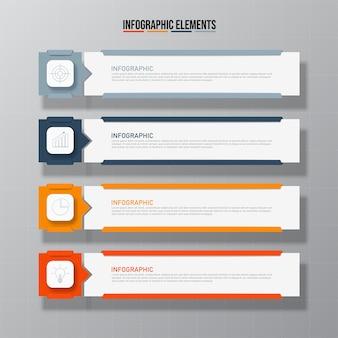 Elementos de infografías rectangulares coloridos, concepto de modelo de negocio con 4 pasos sucesivos.