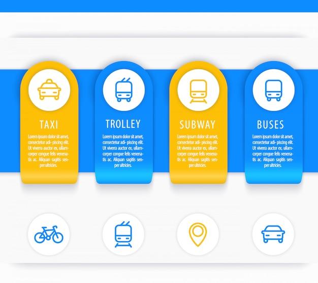 Elementos de infografías de transporte de la ciudad, presentación de transporte público, plantilla de informe