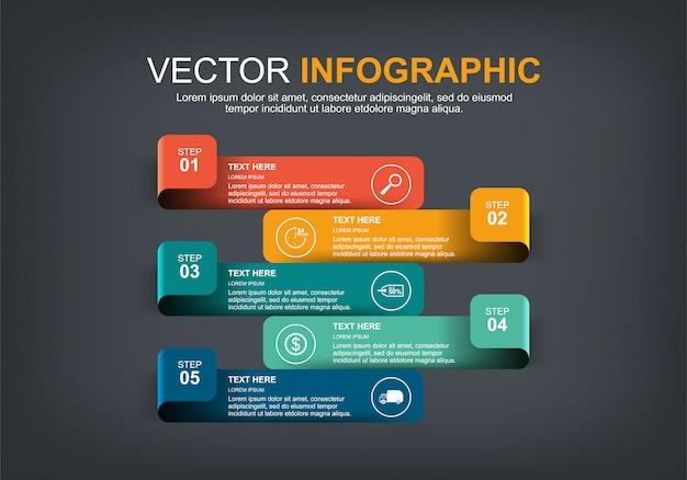 Elementos infográficos con 5 opciones.