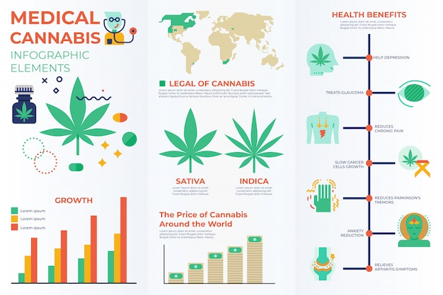 Elementos infográficos de cannabis medicinal.