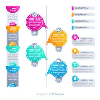 Elementos infográficos coloridos de estilo degradado
