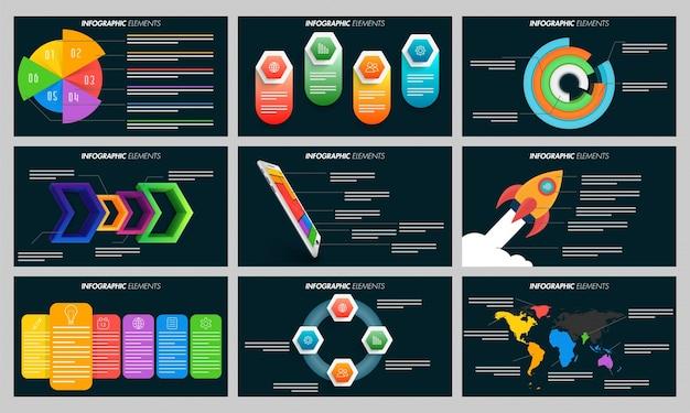 Elementos infográficos coloridos para las plantillas de presentación.