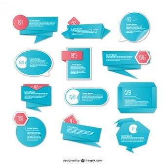 Elementos infográficos de origami