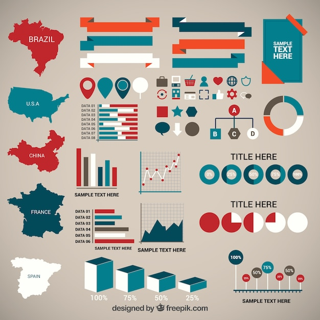 Elementos infográficos de demografía