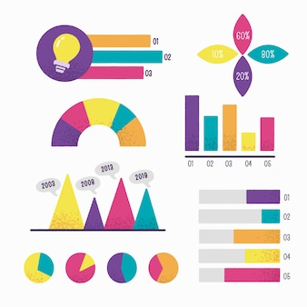 Elementos infográficos dibujados a mano