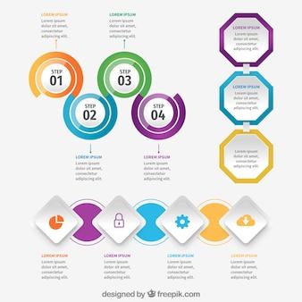 Elementos infográficos con diseño plano