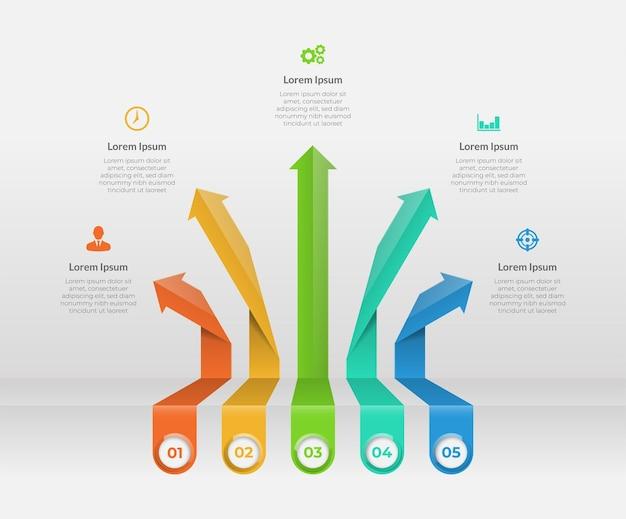 Elementos infográficos de flecha con cinco opciones de presentación.