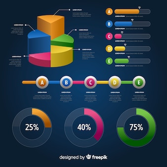 Elementos infográficos gradientes
