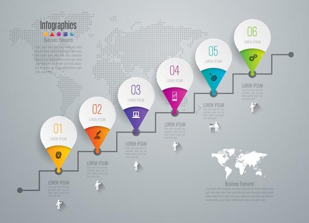 Elementos infográficos de la línea de tiempo para la presentación.