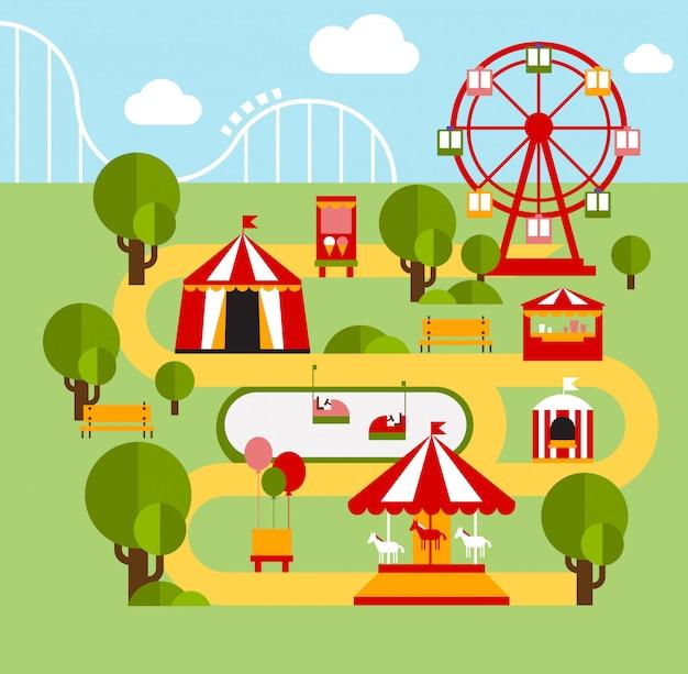Elementos infográficos del parque de atracciones