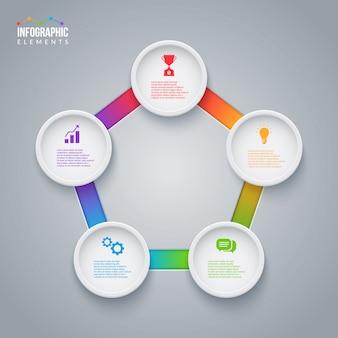 Elementos infográficos pentágono con 5 opciones para su información.