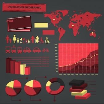 Elementos infográficos rojos