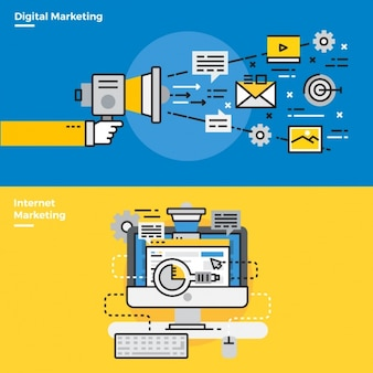 Elementos infográficos sobre marketing online