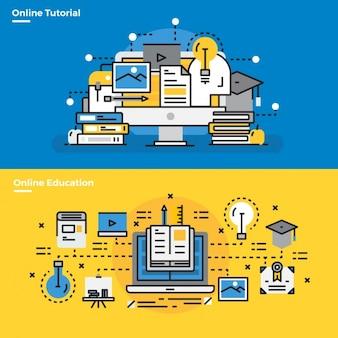 Elementos infográficos sobre tutoriales online