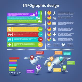 Elementos infográficos de tráfico de transporte.