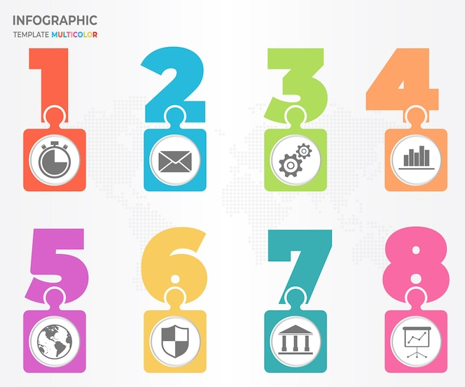 Elementos infographic wiith número y rompecabezas