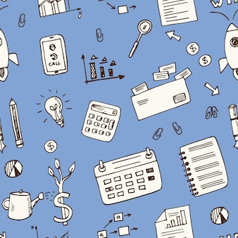Elementos de inicio dibujados a mano doodle de patrones sin fisuras