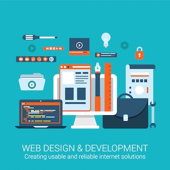 Elementos de interfaz de desarrollo de diseño web herramientas de proceso creativo concepto de utilidad ilustración de diseño plano