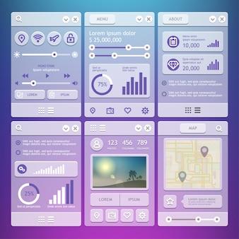Elementos de la interfaz de usuario para aplicaciones móviles.