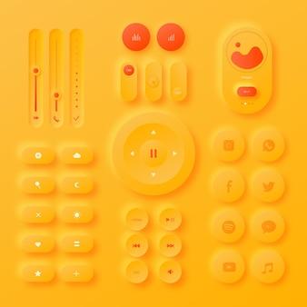 Elementos de interfaz de usuario de diseño neumorfico realista