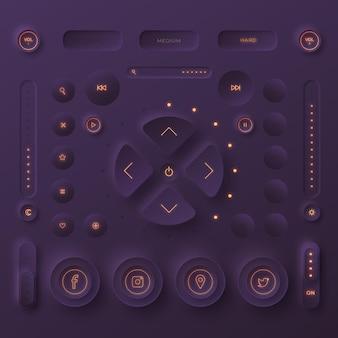 Elementos de la interfaz de usuario de diseño neumorfico.