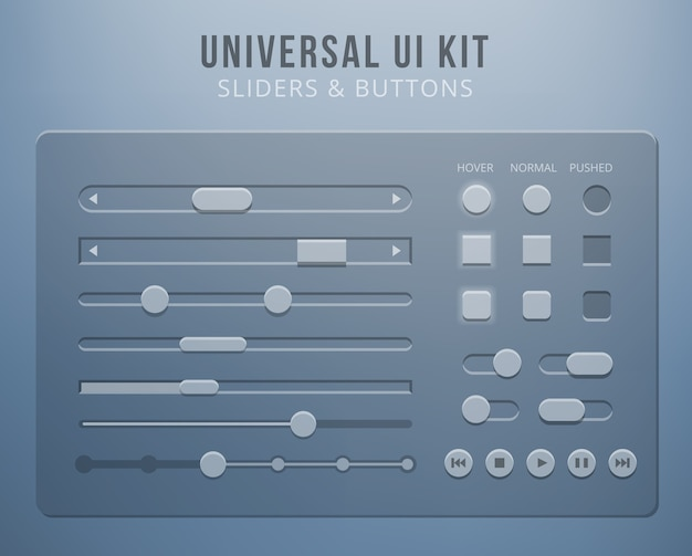 Elementos de la interfaz de usuario con transparencia. control de botones, controles deslizantes móviles