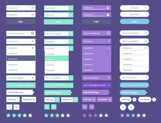 Elementos de la interfaz de usuario de la última web oscura ui mega collection elementos de la web de diseño plano