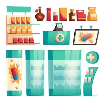 Elementos del interior de la farmacia, conjunto de farmacia