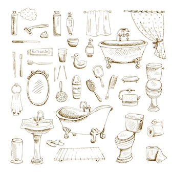 Elementos interiores de baño dibujados a mano