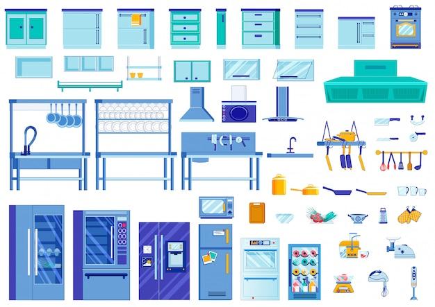 Elementos interiores de cocina, ilustración brillante.