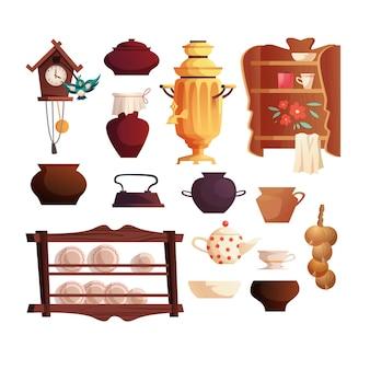 Elementos interiores de la cocina rusa samovar ruso antiguo cucko en punto estantes hervidor de agua ollas utensilios de cocina